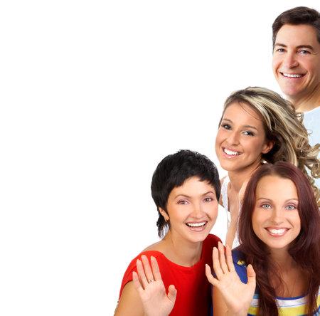 Young personas felices. Ver aislado fondo blanco