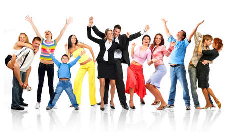 Happy funny people. Isolated over white background Stock Photo - 3454979