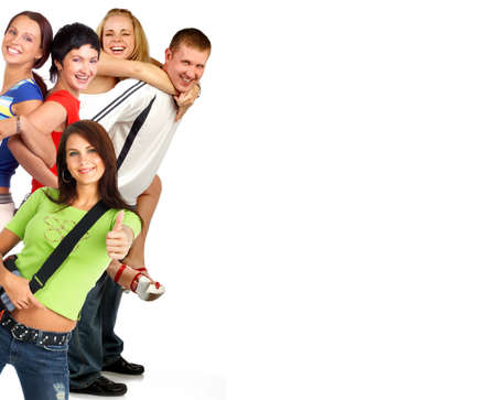 euphoria: Happy funny people. Isolated over white backgroundr Stock Photo