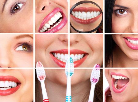 odontologia: Sonriente mujer joven con una dentadura sana celebraci�n de un cepillo de dientes -