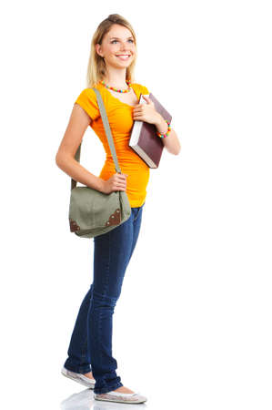 Young smiling  student woman. Over white background Stock Photo - 3454932