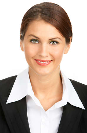 Young smiling successful  business woman. Over white background  photo