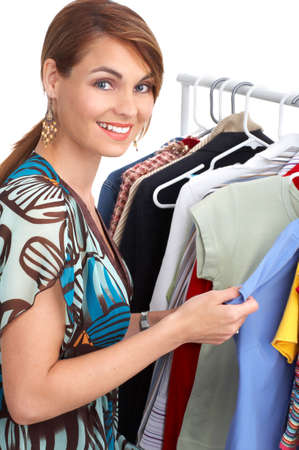 Shopping  woman smiling. Isolated over white background Stock Photo - 3531396