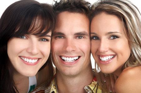 Jonge mensen gelukkig. Geïsoleerde over witte achtergrond