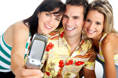 Young happy people with a cellphone. Isolated ver white background  r photo