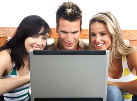conversating: Young happy people with a laptop. Isolated ver white background  r