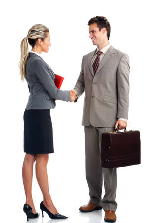 teamworking: Young smiling  business woman and business man
