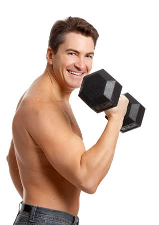 muscularity: Smiling strong  man. Isolated over white background  Stock Photo