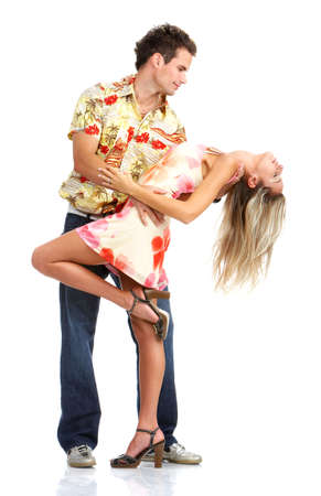 sexy girl dance: Young love couple smiling. Over white background