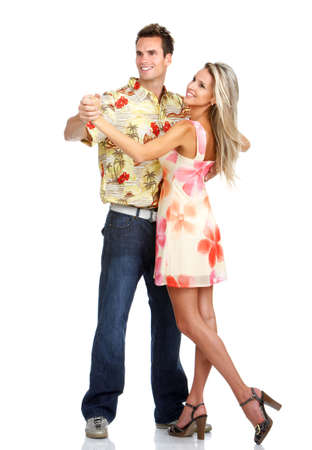 honeymoon couple: Young love couple dancing. Over white background    Stock Photo