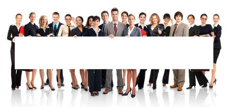 work: Large group of young smiling business people. Over white background