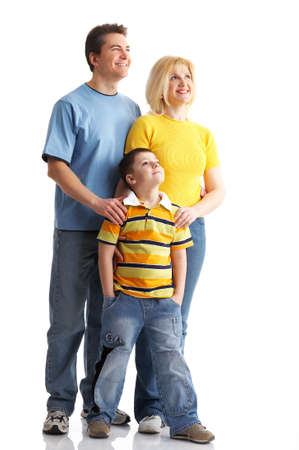 Happy family. Father, mother and boy over white background Stock Photo - 3584230