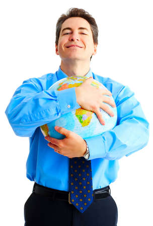 Businessman  with globe. Isolated over white background 免版税图像 - 3584229