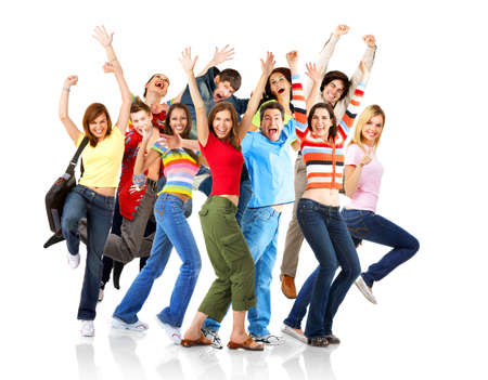 Happy funny people. Isolated over white backgroundr Stock Photo
