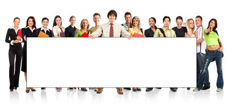 Big group of the young smiling  students. Over white background Imagens - 3584080