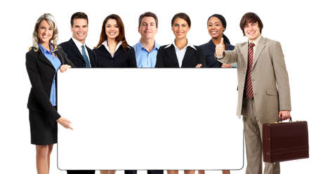 placard: Large group of young smiling business people. Over white background