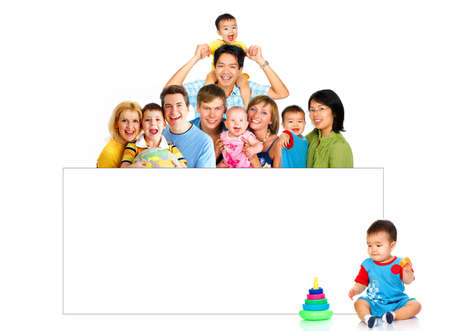 Happy smiling families. Isolated over white background Stock Photo - 3626685