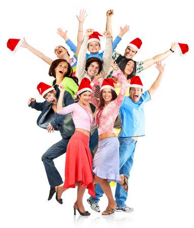 Happy Christmas  people. Isolated over white backgroundr photo
