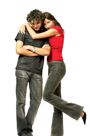 relative: Loving young couple, beautiful and happy. rIsolated over white backgroundr