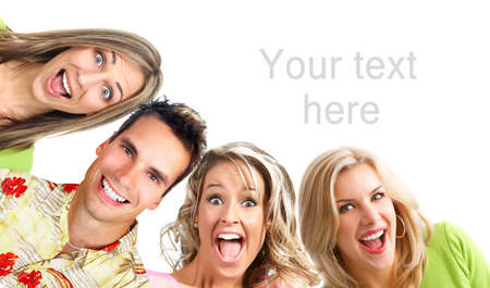 kidding: Happy funny people. Isolated over white backgroundr Stock Photo