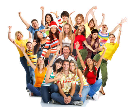 Happy funny people. Isolated over white background Stock Photo - 3626689