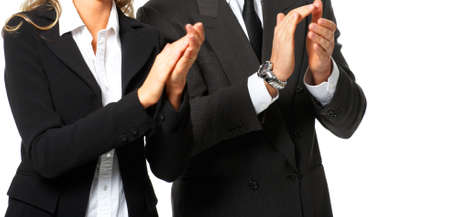 Business people clapping. Isolated over white background photo