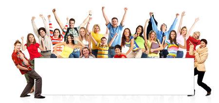 rozradostněný: Happy funny people. Isolated over white backgroundr Reklamní fotografie