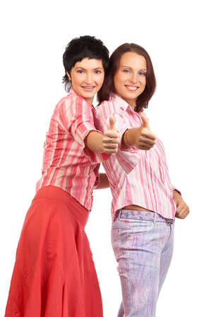 Happy young women friends smiling.  Over white background Stock Photo - 3663661