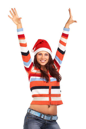 Beautiful smile woman in a Santa Cap. Isolated over white background  photo