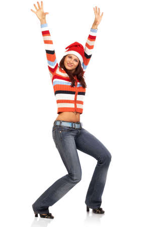 winter fashion: Beautiful smile woman in a Santa Cap. Isolated over white background  Stock Photo