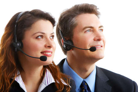 business people with headsets. Over white background  photo