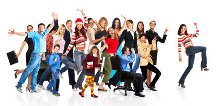 going crazy: Happy funny people. Isolated over white background