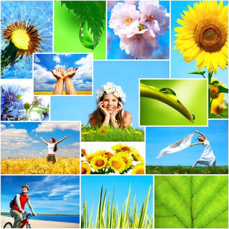 Mensch und Natur. Frauen, gesunde Lebensweise, Ökologie, Natur, Blumen, blauer Himmel Standard-Bild - 3663790