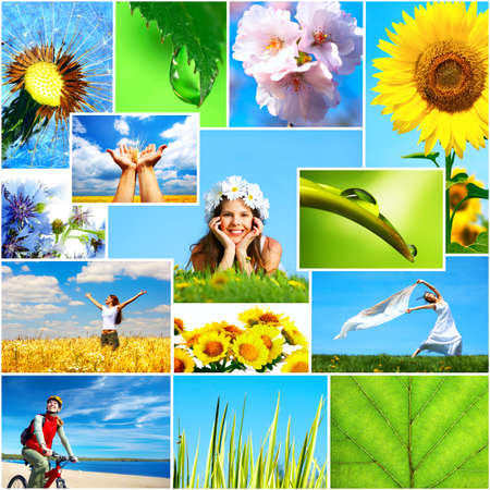 healthy person: People and nature. Women, healthy lifestyle, ecology, nature, flowers, blue sky    Stock Photo