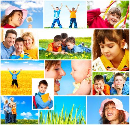 happy young: Familia feliz. Padre, madre e hijos en el parque Foto de archivo