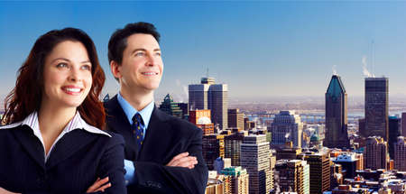 company: Business people  in the downtown. Businessman  and business woman