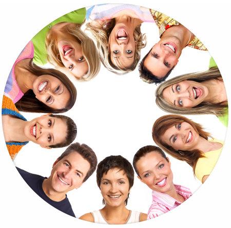 Happy lachende mensen. Over witte achtergrond Stockfoto