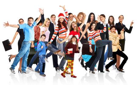 Happy funny mensen. Geïsoleerde over witte achtergrond Stockfoto