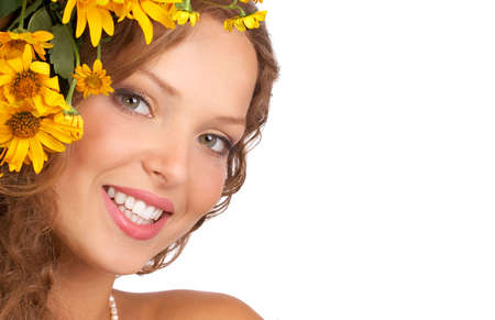 Beautiful young woman smiling with flower.  Isolated over white  background Stock Photo - 3766243