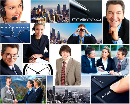 Business  people in the downtown. Businessmen and business women  photo
