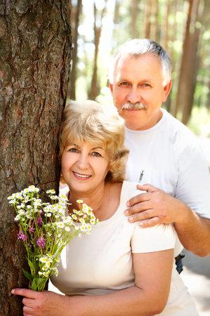 Smiling happy  elderly couple in love outdoor Stock Photo - 3784644