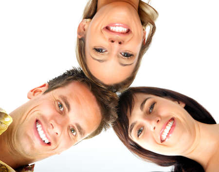 kidding: Happy funny people. Isolated over white background
