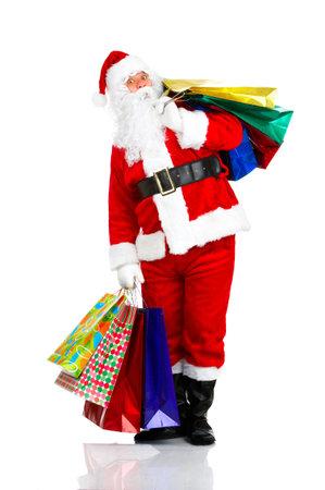 Shopping Christmas Santa. Isolated over white background