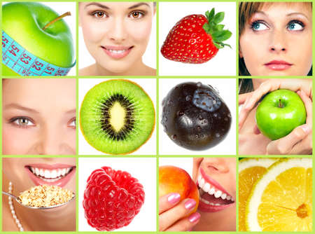 Estilo de vida saludable. Personas, dieta, nutrición sana, frutas Foto de archivo - 3805123