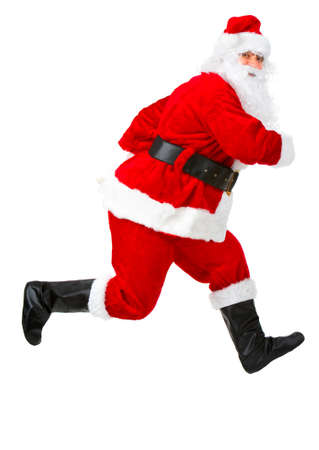 happy christmas: Happy running Christmas Santas. Isolated over white background  Stock Photo