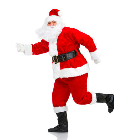 Happy running Christmas Santas. Isolated over white background Stock Photo - 3814063