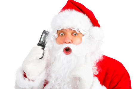 Christmas Santa with cellular. Over white background  photo