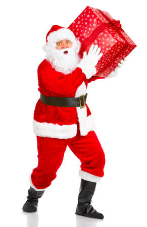 Happy Christmas Santa with gifts. Over white background