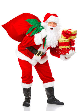 Happy Christmas Santa with gifts. Over white background Stock Photo - 3814064