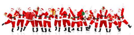 campanas de navidad: Feliz Navidad Santa de baile. Aislado sobre fondo blanco